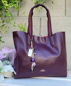 COACH 58660 oxblood glitter derby soft leather tote purse shoulder bag EUC