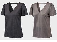 Womens Primark Frill Sleeve V Neck Studded Top - UK Size 8 10 12 14 16 18