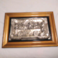 ANTIQUE METAL RELIEF/ 3 D LAST SUPPER WALL HANGING WITH WOODEN FRAME