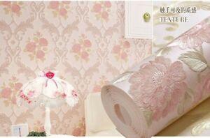 European Pastoral style Environmental Protection 3D Non-woven Bedroom Wallpaper
