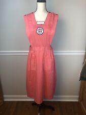 Vintage Nurses Pinafore in Coral Volunteer Nurse Pinafore Dress Uniform 1960's