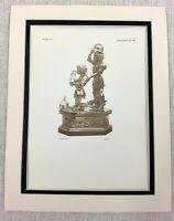 1927 Antico Stampa Charles The Bold San George Bronzo Statua Gerard Loyet