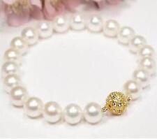"Genuine 9-10mm white AAA+ south sea natural pearl bracelet  7.5 """