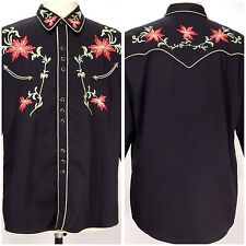 Scully Shirt Large Embroidered Floral Red Green on Black Western LS Snap P-633