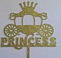 Cake Topper Princess carriage Baby Shower Birthday Gold Glitter
