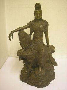 Bronze or brass Sculpture Large  Buddha Figure statue   height 29cm