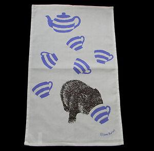 Tea Towel Australia Wombat Tea Cup Pot 100% Cotton Australian Kitchen Souvenir