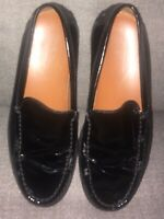 Tod's Womens Black Patent Leather Driving Moccasin Loafers Vibram Sz 6.5 Awesome