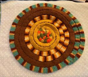"Hand knit Vintage Chair Seat, Brown, Green, Orange, Gold, 13"" Diameter"