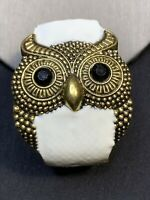 Ladies Vintage Chunky Gold Tone Owl Spirit Animal Wide Hinged Cuff Bracelet