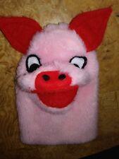 "Vtg Sheram Ohio Plush pink hog pig Hand Puppet Stuffed Animal Pretend Play 8"" dc"