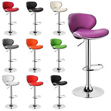 1 x Bar Stool Faux Leather with Back Adjustable Swivel Breakfast Chairs u072