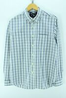 Woolrich Men's Shirt Size L, White Blue longsleeves Western shirt CD643