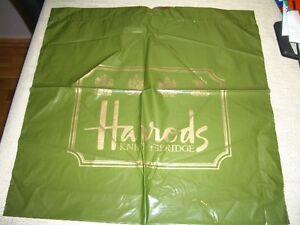 VINTAGE HARRODS DESIGNER CARRIER BAG COMES IN GREEN AND GOLD