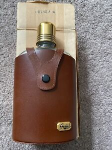 Vintage Griffon Bottle Flask Clear Glass Leather CASE NIB