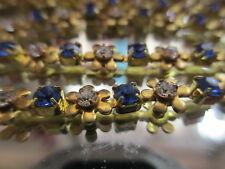 "12 Vintage Swarovski Montana & Crystal Unplated Brass 6"" Bracelet Flower Chain"