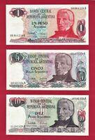ARGENTINA UNC (1983-85) NOTES 1 Peso (P-311), 5 Pesos (P-312) & 10 Pesos (P-313)