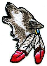 Wolf mit Feder Aufnäher Patch  Indianer Canis Lupus Feather