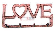Pink Cast Iron Heart Love Wall Hook Hanger Key Rack Towel Coat Inspirational