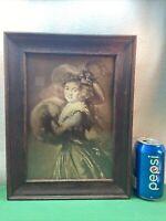 Vtg Antique Wavy Glass Sepia Victorian Woman HAT FUR MUFF Portrait WOOD FRAME