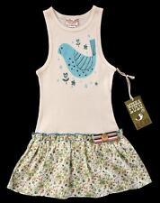 Misha LuLu Boutique Girls Blue Bird Floral Drop Waist Tank Dress 8 (7-8) NWT rk