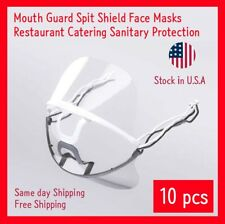 Transparent Clear Plastic Anti-fog Mouth Shield Great Restaurant+Straps - 10pcs