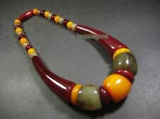 N4645 Necklace Tribal Gypsy Gift Amber Resin Bead statement Fashion Jewelry