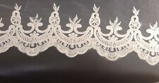 Cream Lace Edging On Net Backing Pre Sewn Lengths 70 X14cm Clothing Furnishings