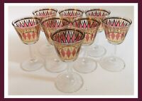 Vintage MCM Wine Type Glasses - Set Of 8 - Pink & Gold - RARE!