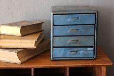 Vintage Industrial Metal Parts Bin Organizer Tool box Cabinet 4 Drawers blue