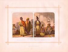 1882 stampa RAZZE Costumi ~ caucasici curdi PERSIANI LADY & Ragazza di Teheran