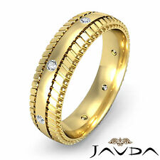 Wedding Band Bezel Round Diamond Mens Solid Eternity Ring 18k Yellow Gold 0.16Ct