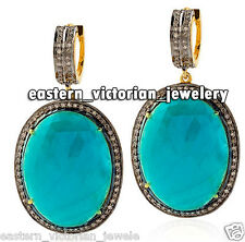 Turquoise Studded Silver Earring Jewelry Artdeco Estate 1.20Cts Rose Cut Diamond
