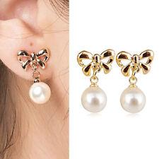 Paar Damen Fliege Ohrstecker Ohrringe Perlen Kugel Ohrschmuck Neu