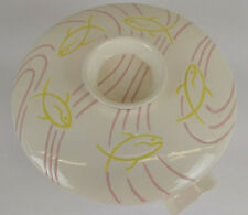 Roselane Art Pottery Mid-century casserole covered dish Fish Waves AquaMarine