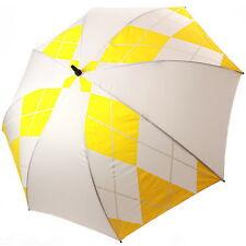"""60"""" simple dais parapluie de golf blanc + jaune diamant 1 bouton open semi auto"""