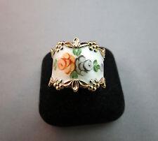 Sterling Silver Rose Flower Ring Guilloche Roses Enamel ESPO Sz 6.5 - 7 Vermeil