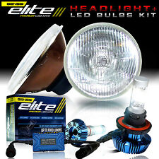 ELITE Series LED Brightest Conversion Kit + 2x Round Glass Headlamps