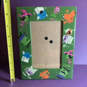 Halloween Retro Monster Acrylic Wood 4x6 Picture Frame Frankenstein Witch