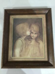 "First Kiss Print 11x15"" Margaret Kane Keane Wood Framed 18x17"" Vintage"