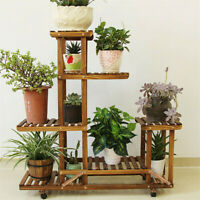 Wood Flower Plant Stand Pot Shelf 3 Tiers Bonsai Display Storage Rolling Rack