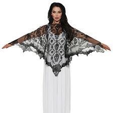 Adults Womens Elegant Vampire Lace Cape Poncho Halloween Fancy Dress Accessory