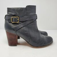 Cole Haan Womens Size 8 B Cassidy Leather Zip Belted Heels Ankle Boots D41598