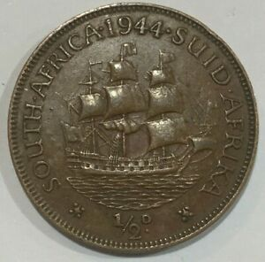 1944 South Africa Half Penny - George VI Coin