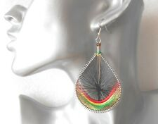 Gorgeous Big Black/Green/Red Teardrop Thread Earrings - Clip-on by Request