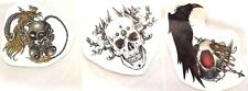 3 SHEET TATTOOS TEMPORARY STYLES BLACK BIRD SKULL STICKER BODY ART SIZE 11x9 cm.