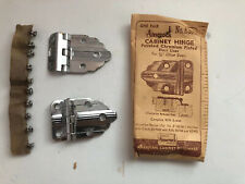 VINTAGE NOS AMEROCK CABINET HINGES ART DECO CHROME 3/8 OFFSET 1 Pair No. 3052