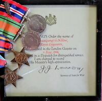 WW2 BRITISH ARMY ROYAL ENGINEERS OFFICERS GROUP OF 4 MEDALS & MID CERTIFICATE