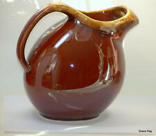 HULL USA Vintage Brown Drip Glaze Pottery Oven Proof Ball Tea Pitcher Jug IceLip
