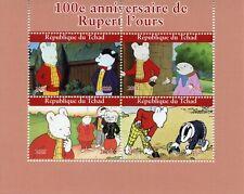 Chad Comics Stamps 2020 CTO Rupert Bear Badger Cartoons Animation 4v M/S